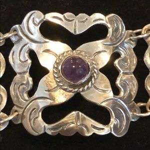 Jewelry - Vintage Mexican Silver and Amethyst Bracelet